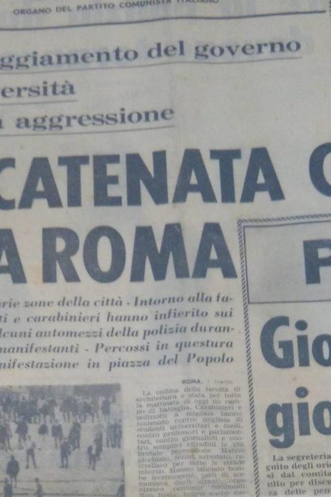 Valle Giulia, cronache dai giornali dell'epoca